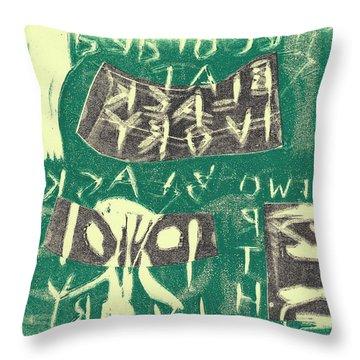 E Cd Grey And Green Throw Pillow