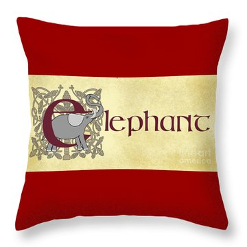 Throw Pillow featuring the digital art E Is For Elephant by Donna Huntriss