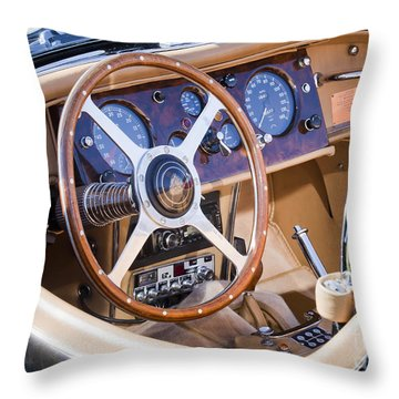 E-type Jaguar Dashboard Throw Pillow