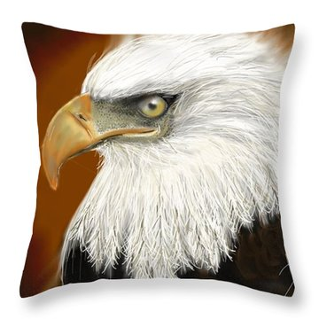 Throw Pillow featuring the digital art Eagle American by Darren Cannell