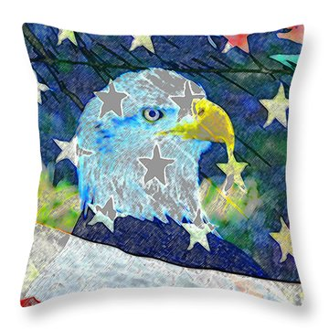 Throw Pillow featuring the digital art Eagle Americana by David Lee Thompson