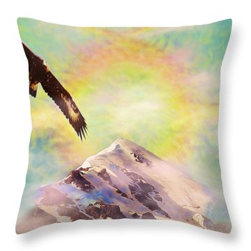 Eagle And Fire Rainbow Over Mt Tetnuldi Caucasus II Throw Pillow