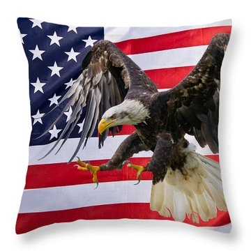 Eagle And Flag Throw Pillow by Scott Carruthers