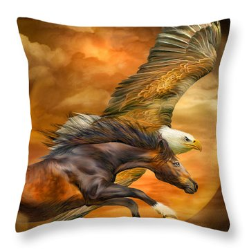 Eagle And Horse - Spirits Of The Wind Throw Pillow