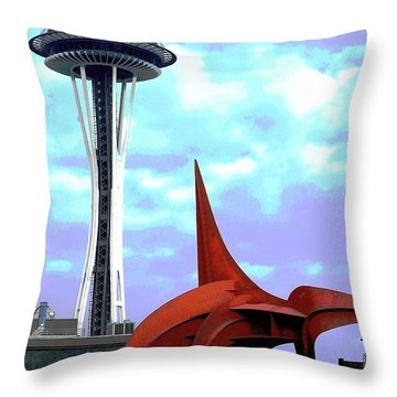 Throw Pillow featuring the photograph Eagle And Space Needle Seattle by Yulia Kazansky