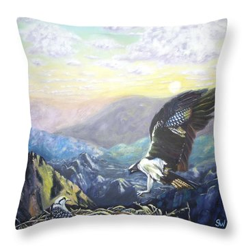 Eagle At Home Throw Pillow
