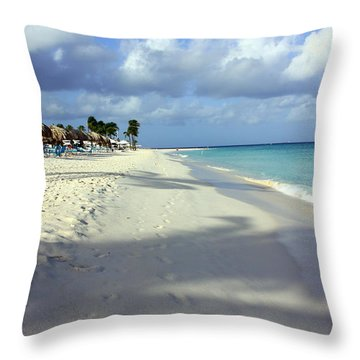 Throw Pillow featuring the photograph Eagle Beach Aruba by Suzanne Stout