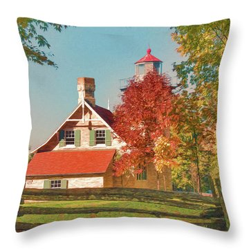 Eagle Bluff Lighthouse_1 Throw Pillow