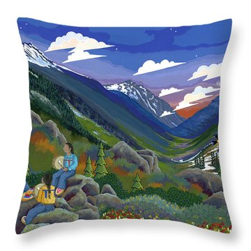 Throw Pillow featuring the painting Eagle Boys Learn To Sing by Chholing Taha