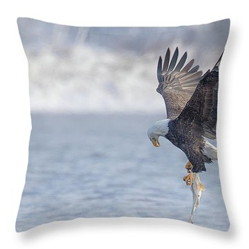Eagle Fishing  Throw Pillow by Kelly Marquardt