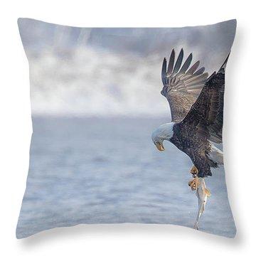 Eagle Fishing  Throw Pillow