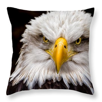 Defiant And Resolute - Bald Eagle Throw Pillow