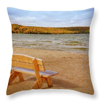Throw Pillow featuring the photograph Eagle Harbor Summer Is Over by Heidi Hermes