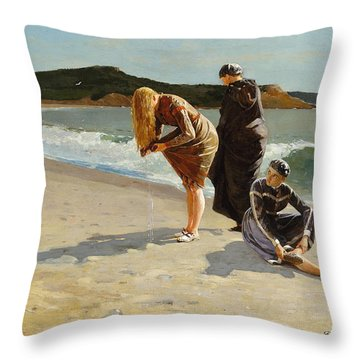 Throw Pillow featuring the painting Eagle Head, Manchester, Massachusetts - 1870 by Winslow Homer