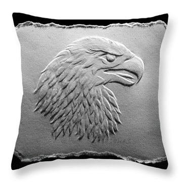 Eagle Head Relief Drawing Throw Pillow by Suhas Tavkar