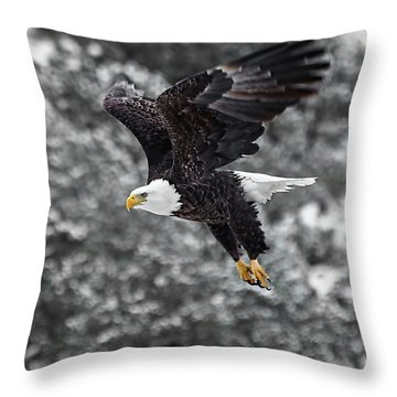 Throw Pillow featuring the photograph Eagle In Flight by Britt Runyon