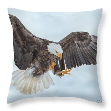 Eagle In The Clouds Throw Pillow