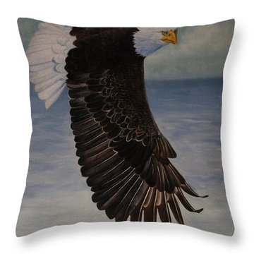 Eagle - Low Pass Turn Throw Pillow by Roena King
