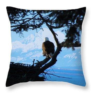 Eagle - Mt Baker - Eagles Nest Throw Pillow