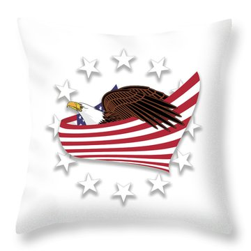 Throw Pillow featuring the digital art Eagle Of The Free V1 by Bruce Stanfield