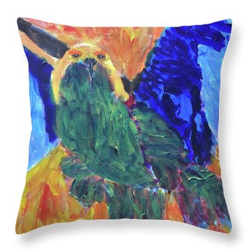 Throw Pillow featuring the painting Standing Outside The Fire by Donald J Ryker III