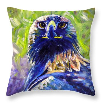 Eagle On Alert Throw Pillow