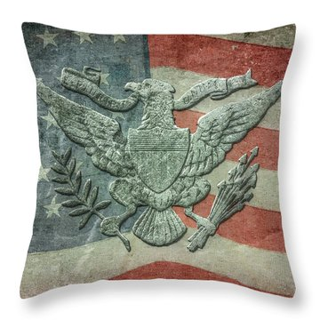 Throw Pillow featuring the digital art Eagle On American Flag by Randy Steele
