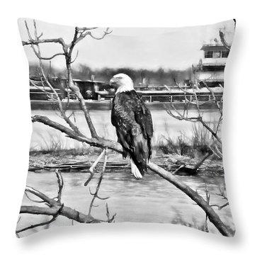 Eagle On The Illinois River Throw Pillow by John Freidenberg