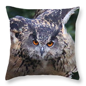 Throw Pillow featuring the photograph Eagle Owl Close Up by William Selander