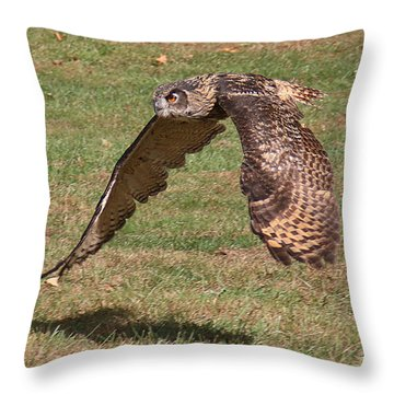Throw Pillow featuring the photograph Eagle Owl On The Hunt 1 by William Selander