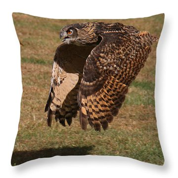 Throw Pillow featuring the photograph Eagle Owl On The Hunt 2 by William Selander