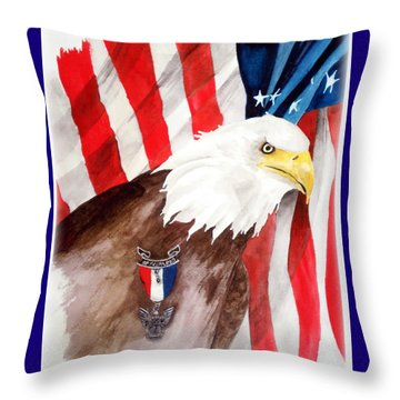 Eagle Scout Throw Pillow by Rosalea Greenwood