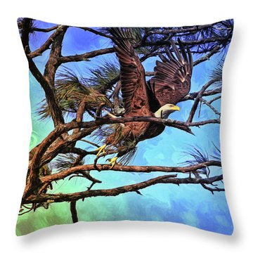 Throw Pillow featuring the painting Eagle Series 2 by Deborah Benoit