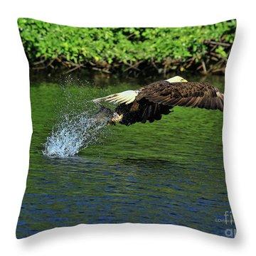 Throw Pillow featuring the photograph Eagle Series Fish Catch by Deborah Benoit
