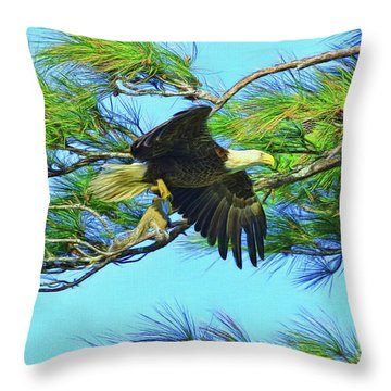Throw Pillow featuring the painting Eagle Series Food by Deborah Benoit