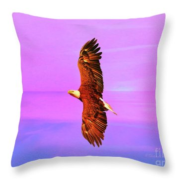 Throw Pillow featuring the painting Eagle Series Painterly by Deborah Benoit