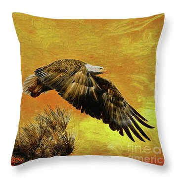 Throw Pillow featuring the painting Eagle Series Strength by Deborah Benoit