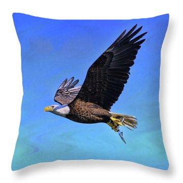 Throw Pillow featuring the photograph Eagle Series Success by Deborah Benoit