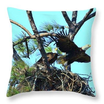 Throw Pillow featuring the photograph Eagle Series The Nest by Deborah Benoit