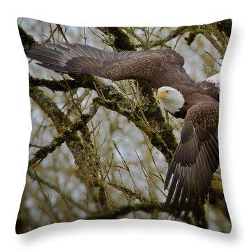 Eagle Take Off Throw Pillow