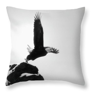 Eagle Takeoff At Adak, Alaska Throw Pillow