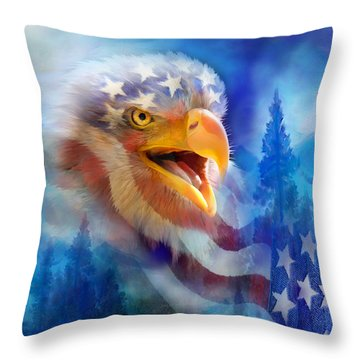 Eagle's Cry Throw Pillow by Carol Cavalaris
