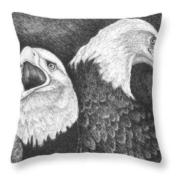 Eagles In Ink Throw Pillow