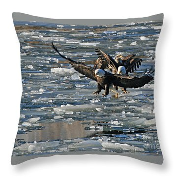 Eagles On Ice Throw Pillow