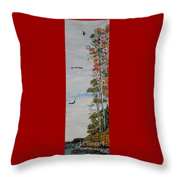 Throw Pillow featuring the painting Eagles Point by Marilyn  McNish