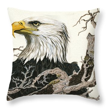 Eagle's View - Wildlife Painting Throw Pillow