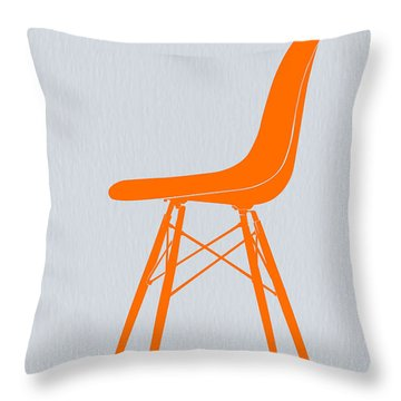 Eames Fiberglass Chair Orange Throw Pillow