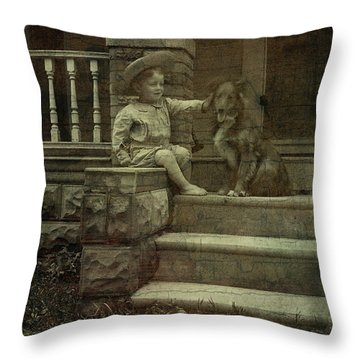 Ear Scratch And Straw Hat Throw Pillow