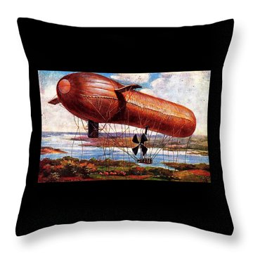 Throw Pillow featuring the painting Early 1900s Military Airship by Peter Gumaer Ogden