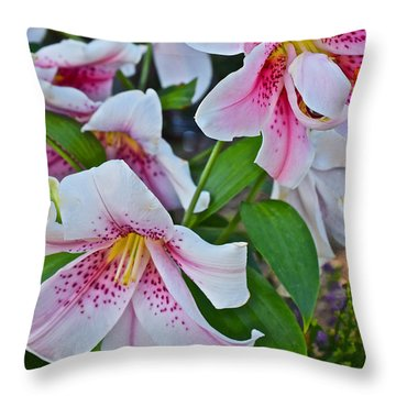 Early August Tumble Of Lilies Throw Pillow